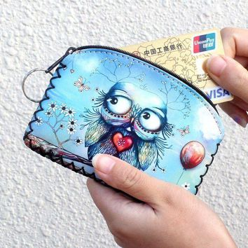 DCCKFV3 New graffiti cat elephant owl coin purse,Change purse card holder Handmade Hem wallets purse women clutch zipper coins bag pouch