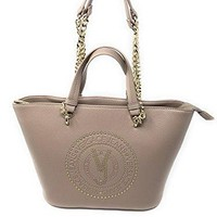Versace EE1VRBBQ7 Light Brown Tote Bag W/ chain strap for Women