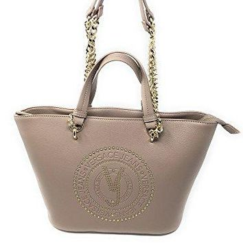 22a5dab7ec89 Versace EE1VRBBQ7 Light Brown Tote Bag W  chain strap for Women