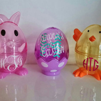 3 Monogram Easter Egg Set, Easter Eggs, First Easter, Childrens Easter Basket, Bunny Eggs, Chick Eggs, Monogram Easter, Easter Decals,