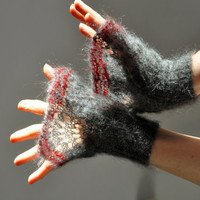 Hand Knitted Lace Cuffs, Hand Knit Mittens, Lace Knit Mittens, Wrist Warmers, Grey Mittens,