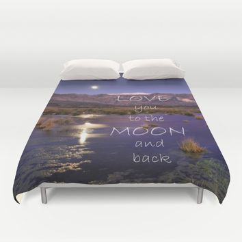 Love you to the moon and back.  Valentine's Day Duvet Cover by Guido Montañés
