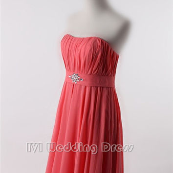 Long Bridesmaid Dress features Ruched Bodice with Beads Decoration on Waist and Draped Skirt