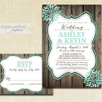 Aqua Bloom Wedding Invitation & RSVP 2 Piece Suite Wood Teal Turquoise Watercolor Modern Script Shabby Chic Rustic DiY or Printed- Ashley