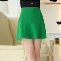 New Arrivals : Mini A-line Green Skirt YRB0645