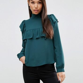 ASOS High Neck Blouse with Ruffle & Sheer Bib at asos.com