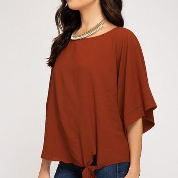 Kimono Sleeve Woven Top With Side Tie Detail in Rust