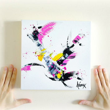 Minimalist Abstract Painting, Modern Abstract Art, Pink and black Painting, Wall Art on canvas 10x10 inch by Heroux