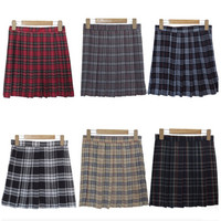 Harajuku 2017 Women Fashion Summer high waist pleated skirt  Wind Cosplay plaid skirt kawaii Female Skirts
