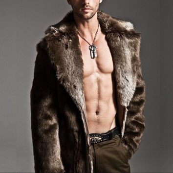 Men's Winter Long Coat Imitation Fur Plush Warm Long Fur Fox Fur Collar Faux Fur Wide-Waisted Solid Single Breasted Long Coat