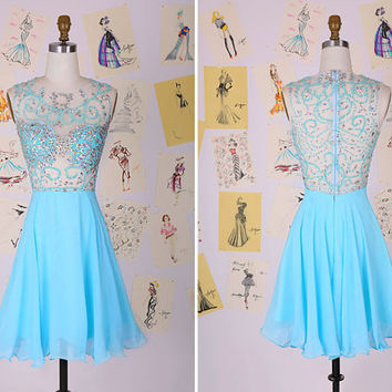 Light Blue Beading Short Prom Dress/Flowy Prom Dress/See Through Party Dress/Homecoming Dress/Light Blue Junior Graduation Dress DAF0056