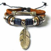 Bangle leather bracelet women bracelet men bracelet made of  hemp rope wood metal leaf leather  bracelet cuff  SH-1622
