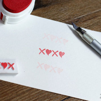 xoxo rubber stamp, xoxo stamp, hand carved rubber stamp, kiss rubber stamp, bff stamp, personalised signature stamp, love stamp, heart stamp