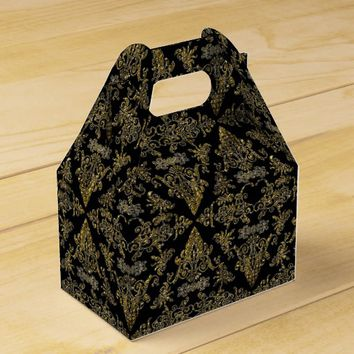Damask 06 Black-Gold-Gable Style Favor boxes