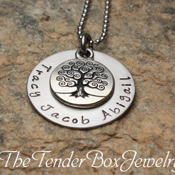 Free Shipping Mothers family tree of life personalized hand stamped necklace
