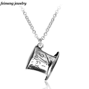 Drop shipping Alice In Wonderland Hat Low Mad Hatter Hat Silver Pendant Necklace High Quality collars Necklace