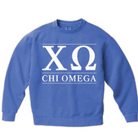 PRE-ORDER New Chi Omega Comfort Colors Stripe Crewneck Sweatshirt // Size Small-XL