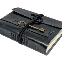 Black Faux Leather Journal with Heart Key Bookmark