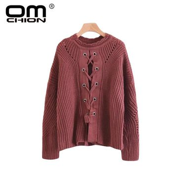 Women Jumpers V Neck Criss-Cross Knitted Sweater Vintage Sexy Casual Pullover Autumn Winter Pull