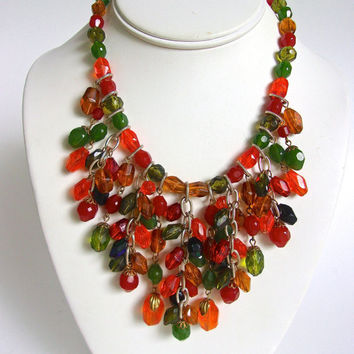 W GERMANY Multi Color Acrylic Bib Necklace, Dangles, Eloxal, Fall Colors, Vintage