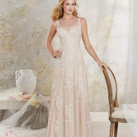 Alfred Angelo 8530 Illusion Neckline Lace A-Line Wedding Dress