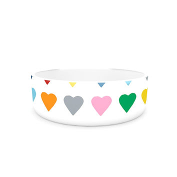 "Project M ""Heart Stripes"" Rainbow Shapes Pet Bowl"