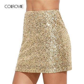 COLROVIE Women Short Skirt Korean Women Clothing Sexy Clubwear Solid Gold Embroidered Sequin  A Line Mini Skirt