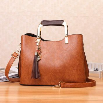Women Retro PU Leather Tote Bag