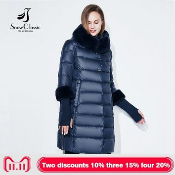 Snowclassic jacket women camperas mujer abrigo invierno coat women park plus size 5XL Fur collar hat cuffs thick Europe
