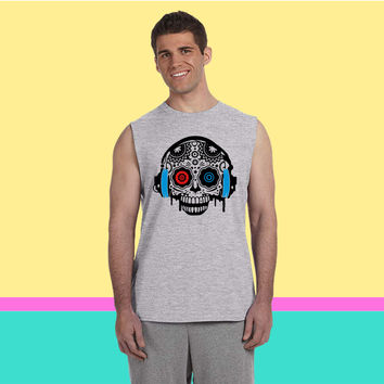 A Sugar Skull with headphones Sleeveless T-shirt