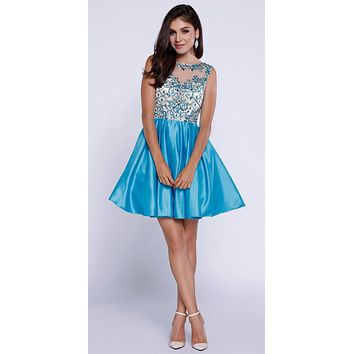 Turquoise-Nude Beaded Top Illusion Bateau Neckline Short Prom Dress