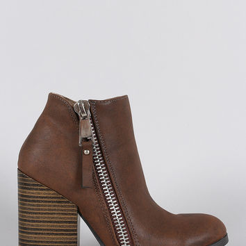Qupid Zip Up Western Cowgirl Chunky Stacked Heeled Ankle Boots