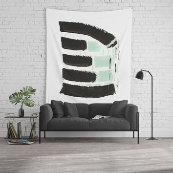 Minimal black & mint Wall Tapestry by vivigonzalezart