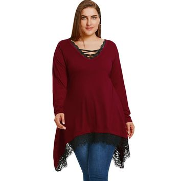 Plus Size Tunic Sharkbite T-shirt with Lace Trim