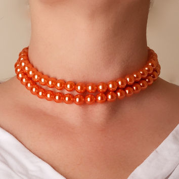 Vintage Coro Peach Bead Choker Necklace by TwiceBakedVintage