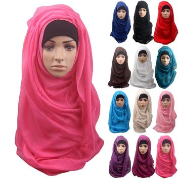 women scarves hijabs shawls oversize islamic head wraps soft long muslim frayed crepe premium cotton plain hijab scarf