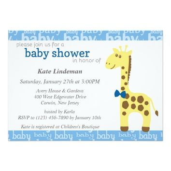 Giraffe in Blue Bow Baby Shower for Boy 5x7 Paper Invitation Card