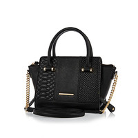 River Island Womens Black winged chain detail handbag