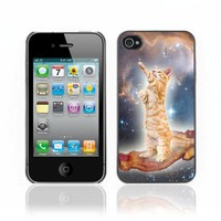 ARTCASES CollectionsTM Black Hard Back Case for Apple iPhone 4 & 4S ( Funny Bacon Cat )