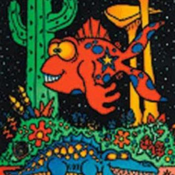 Paleon Fish & Gator Flocked Blacklight Poster Print