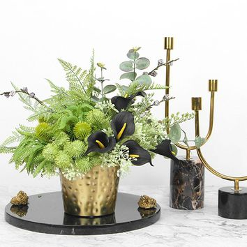 Faux Lily in Green Plant Table Centerpiece