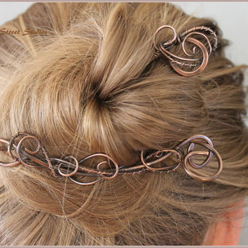 Elegant Copper Hair Slide Set, Metal Antiqued Copper Wire Wrapped Hair Pin Boho Wedding Hair Accessories Hair Clip Hair Stick Unusual Hair