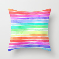 Bright Rainbow Colored Watercolor Paint Stripes Throw Pillow by micklyn