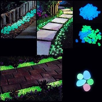 20pcs Luminous Stones Glow In The Dark Pebbles Garden Fish Tank Flower Pot Decoration Crafts Romantic Wedding Party Supplies