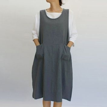 Women Dress Cotton Dress Casual Apron With Pockets Japanese Style Pinafore Ladies Dresses Vestidos@30
