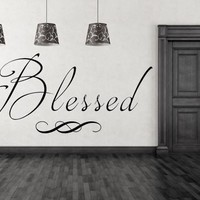 Blessed Vinyl Living Room Christian Wall Decals