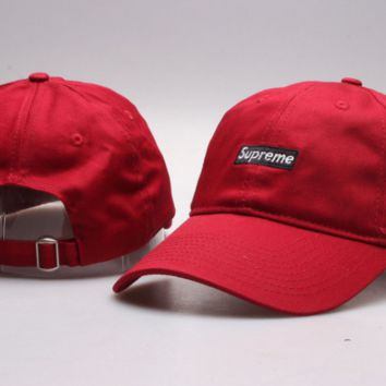Cool Supreme Embroidery Unisex Red Sport Baseball Cap Hats