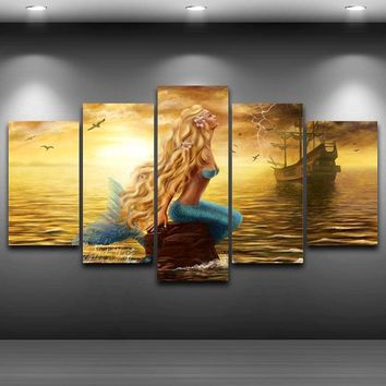 Mermaid 5 Panel Canvas Art Decor for Home