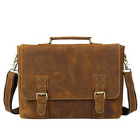 "Men's Handmade Vintage Leather Briefcase / Leather Messenger Bag / 17"" MacBook Pro 16"" Laptop Bag  D33"