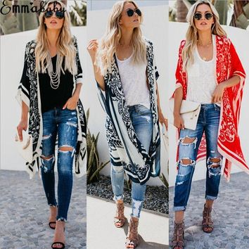 Womens Kimono Cardigan Boho Beach Long Blouse Floral Print Summer Ladies Beachwear Bating Clothes Shirt